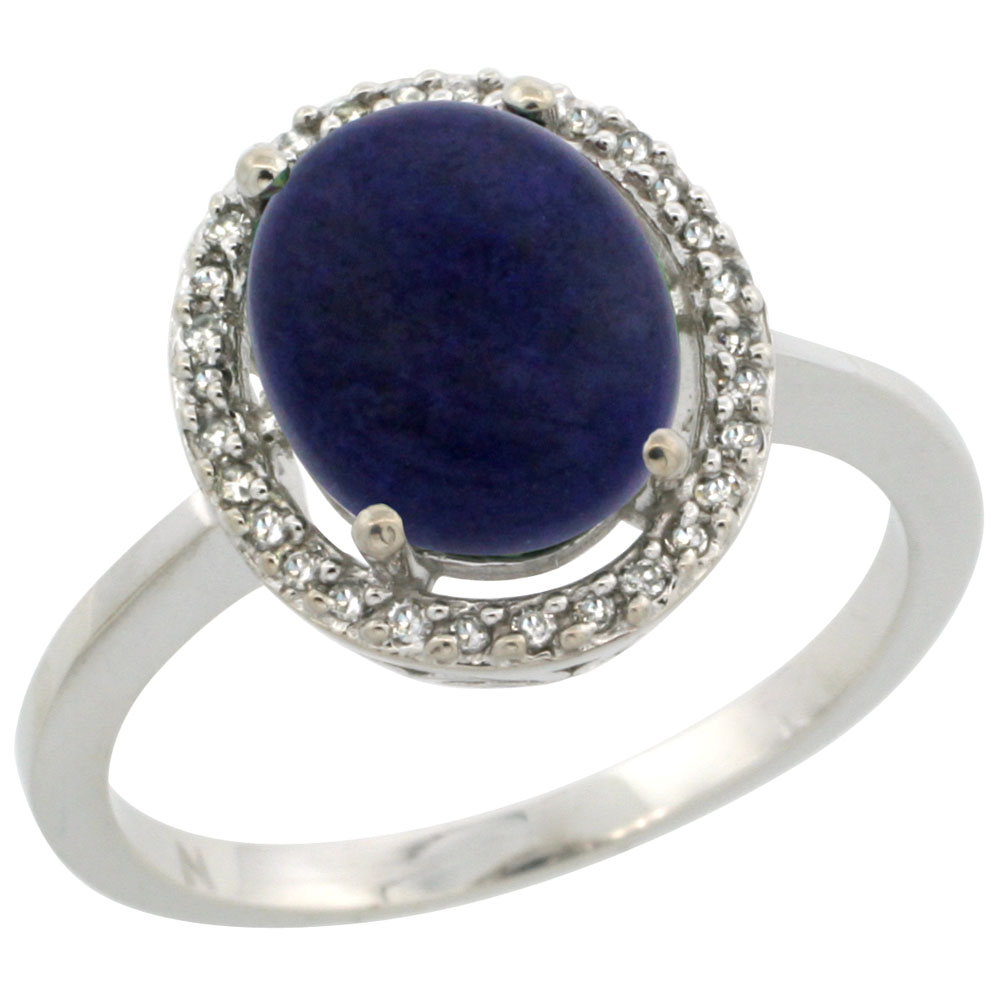 10K White Gold Diamond Halo Natural Lapis Engagement Ring Oval 10x8 mm, sizes 5 10