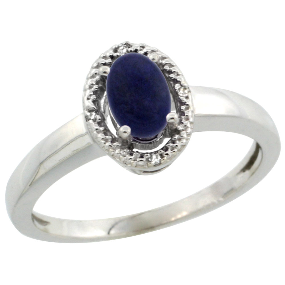 14K White Gold Diamond Halo Natural Lapis Engagement Ring Oval 6X4 mm, sizes 5-10