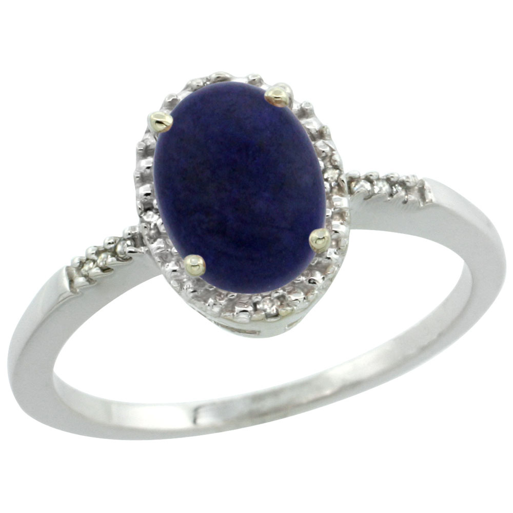 14K White Gold Diamond Natural Lapis Ring Oval 8x6mm, sizes 5-10