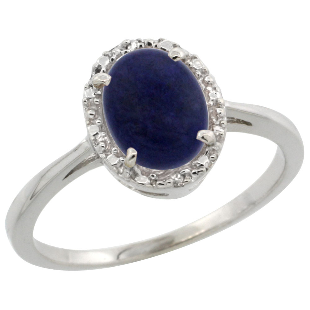 10k White Gold Natural Lapis Ring Oval 8x6 mm Diamond Halo, sizes 5-10