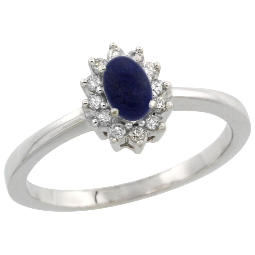 14K White Gold Natural Lapis Ring Oval 5x3mm Diamond Halo, sizes 5-10