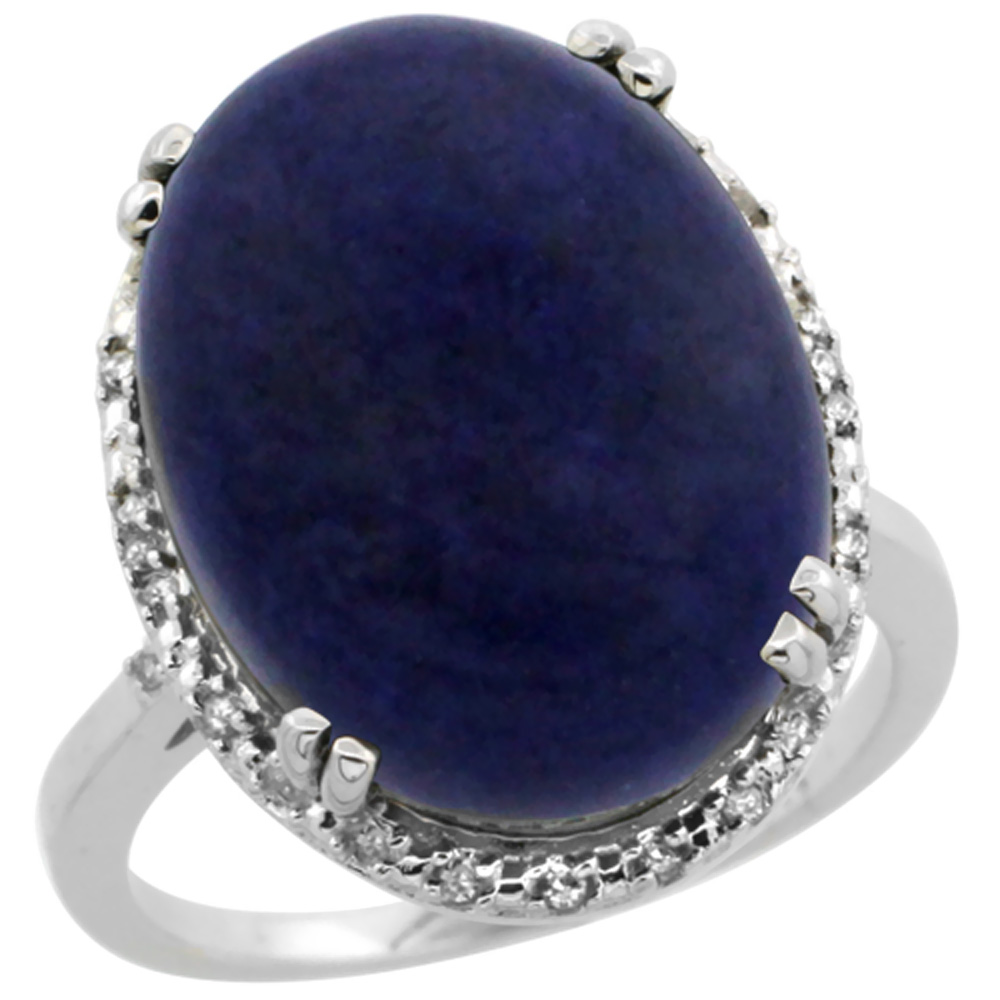 14K White Gold Natural Lapis Ring Large Oval 18x13mm Diamond Halo, sizes 5-10