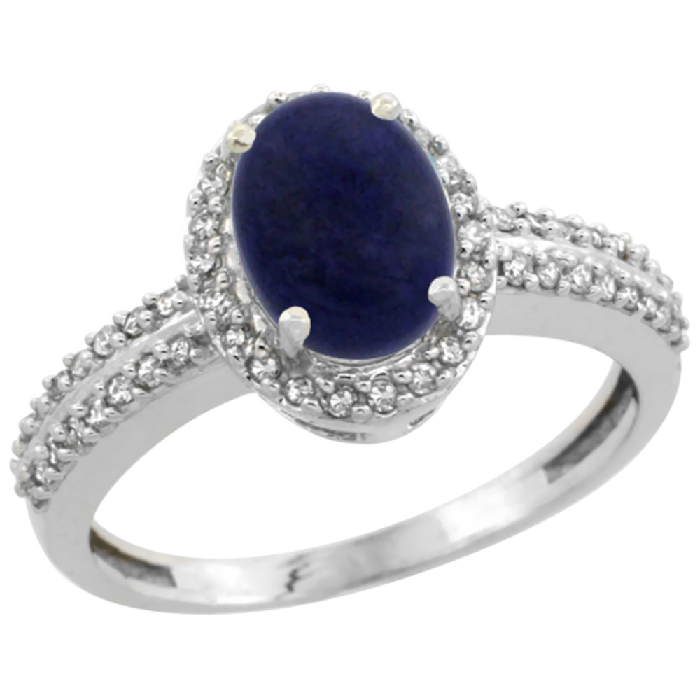 14K White Gold Natural Lapis Ring Oval 8x6mm Diamond Halo, sizes 5-10