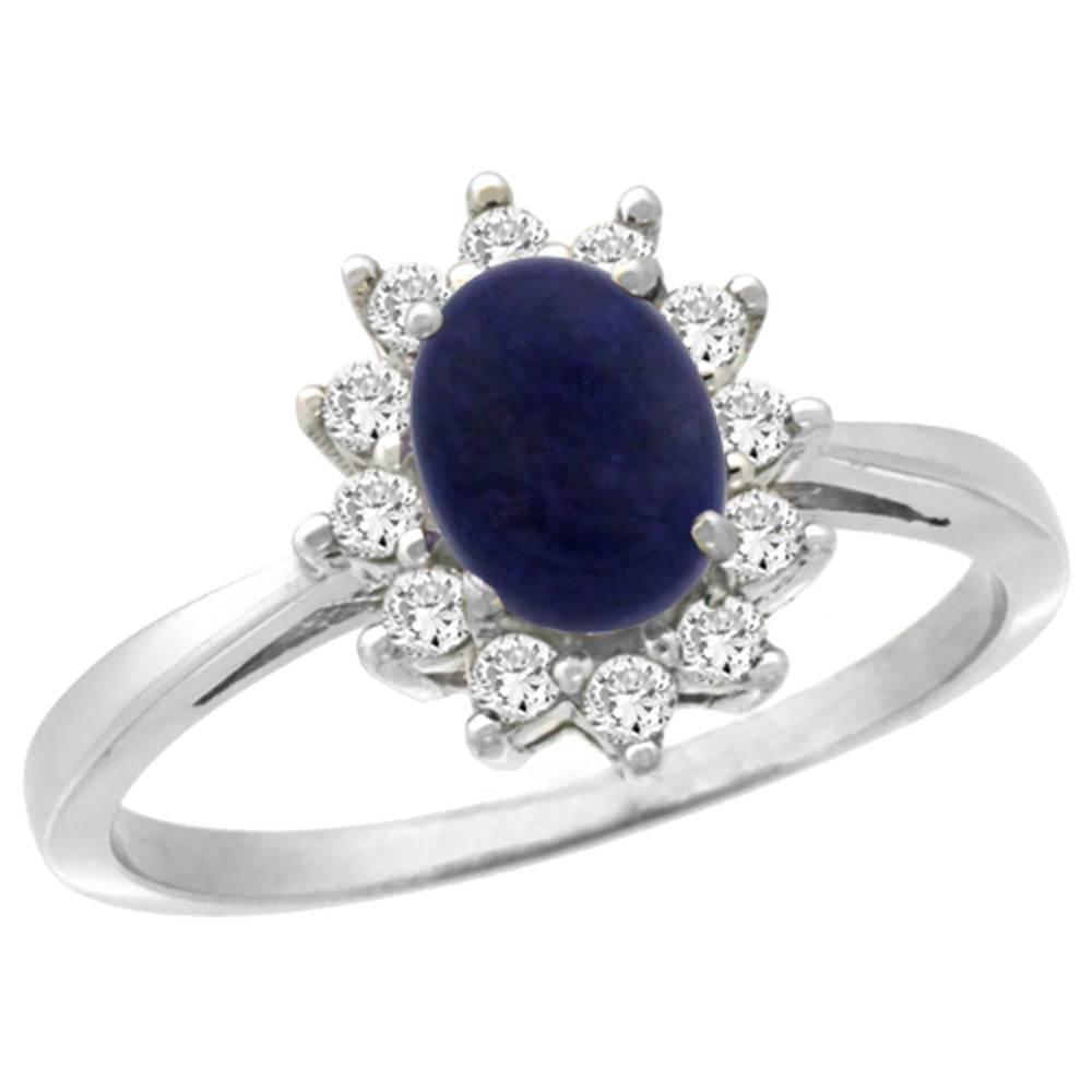 14K White Gold Natural Lapis Engagement Ring Oval 7x5mm Diamond Halo, sizes 5-10
