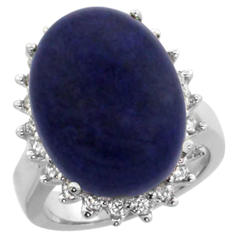 14k White Gold Diamond Halo Natural Lapis Ring Large Oval 18x13mm, sizes 5-10