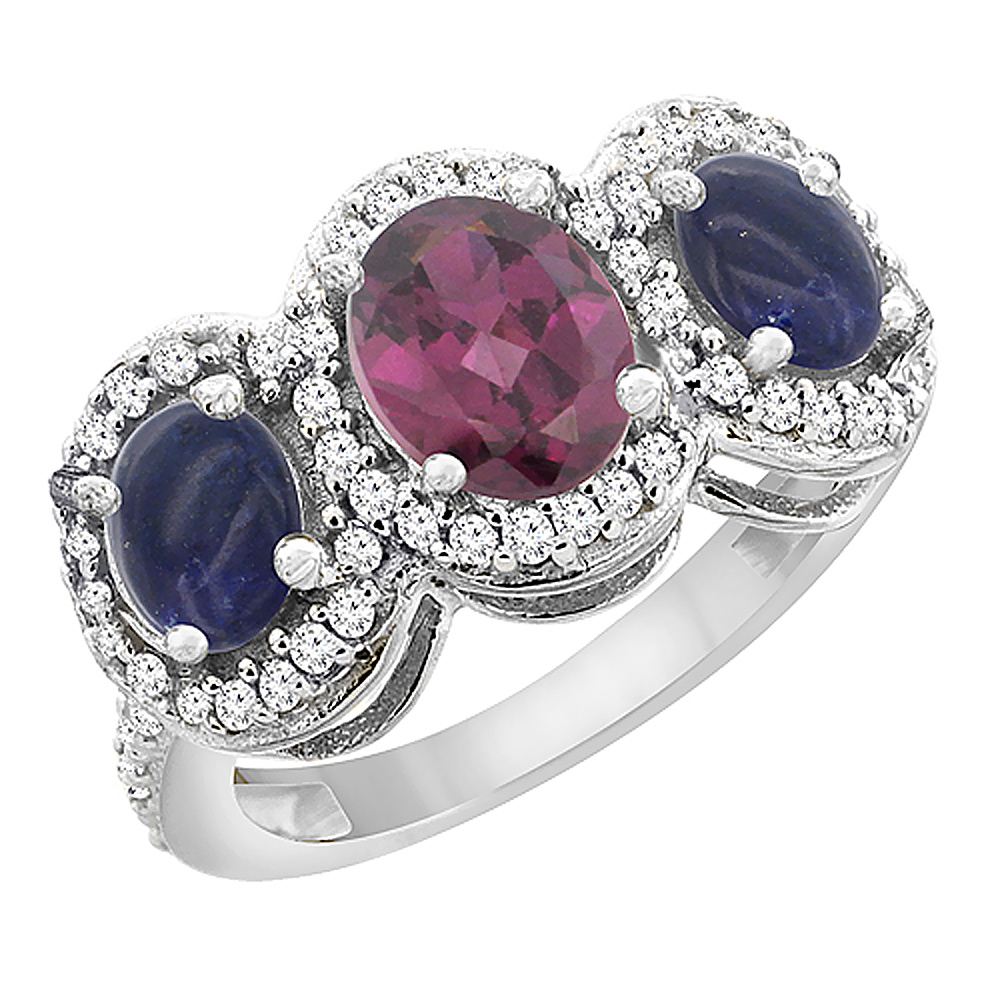 10K White Gold Natural Rhodolite & Lapis 3-Stone Ring Oval Diamond Accent, sizes 5 - 10