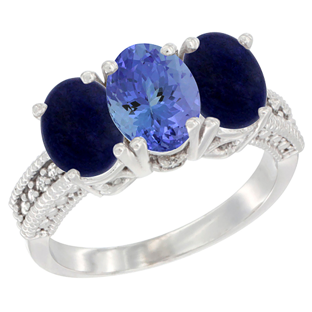 14K White Gold Natural Tanzanite Ring with Lapis 3-Stone 7x5 mm Oval Diamond Accent, sizes 5 - 10