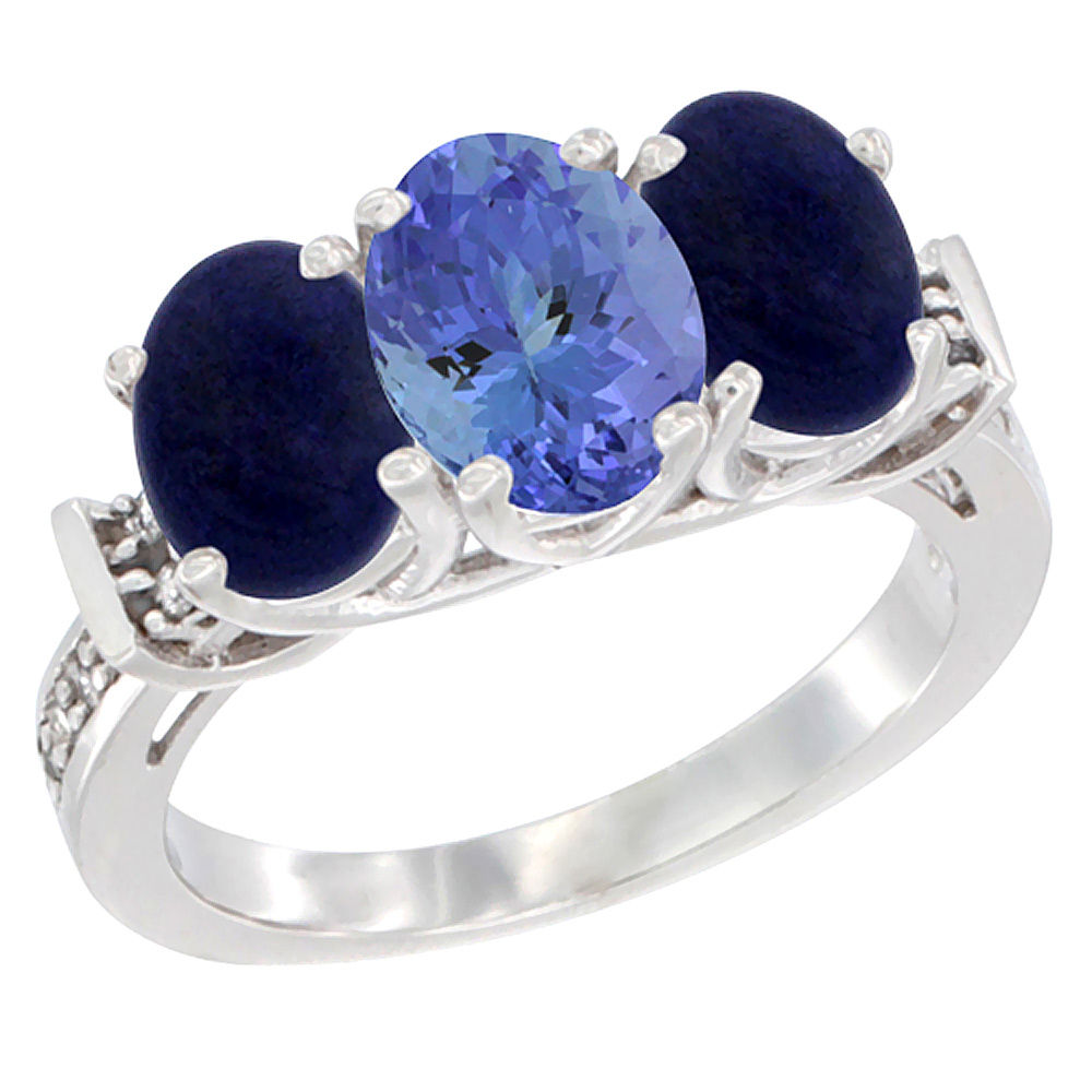 14K White Gold Natural Tanzanite & Lapis Sides Ring 3-Stone Oval Diamond Accent, sizes 5 - 10