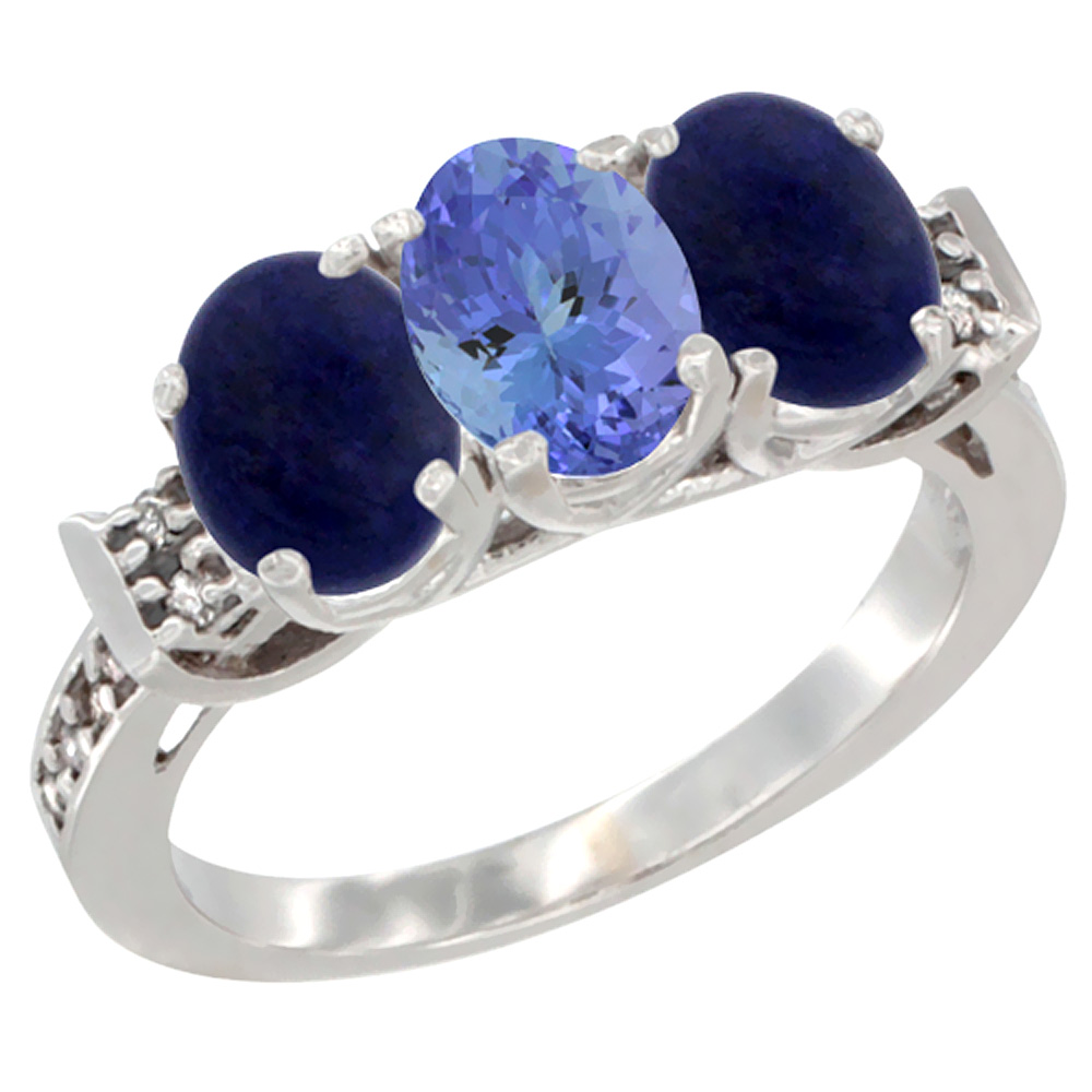 14K White Gold Natural Tanzanite & Lapis Ring 3-Stone 7x5 mm Oval Diamond Accent, sizes 5 - 10
