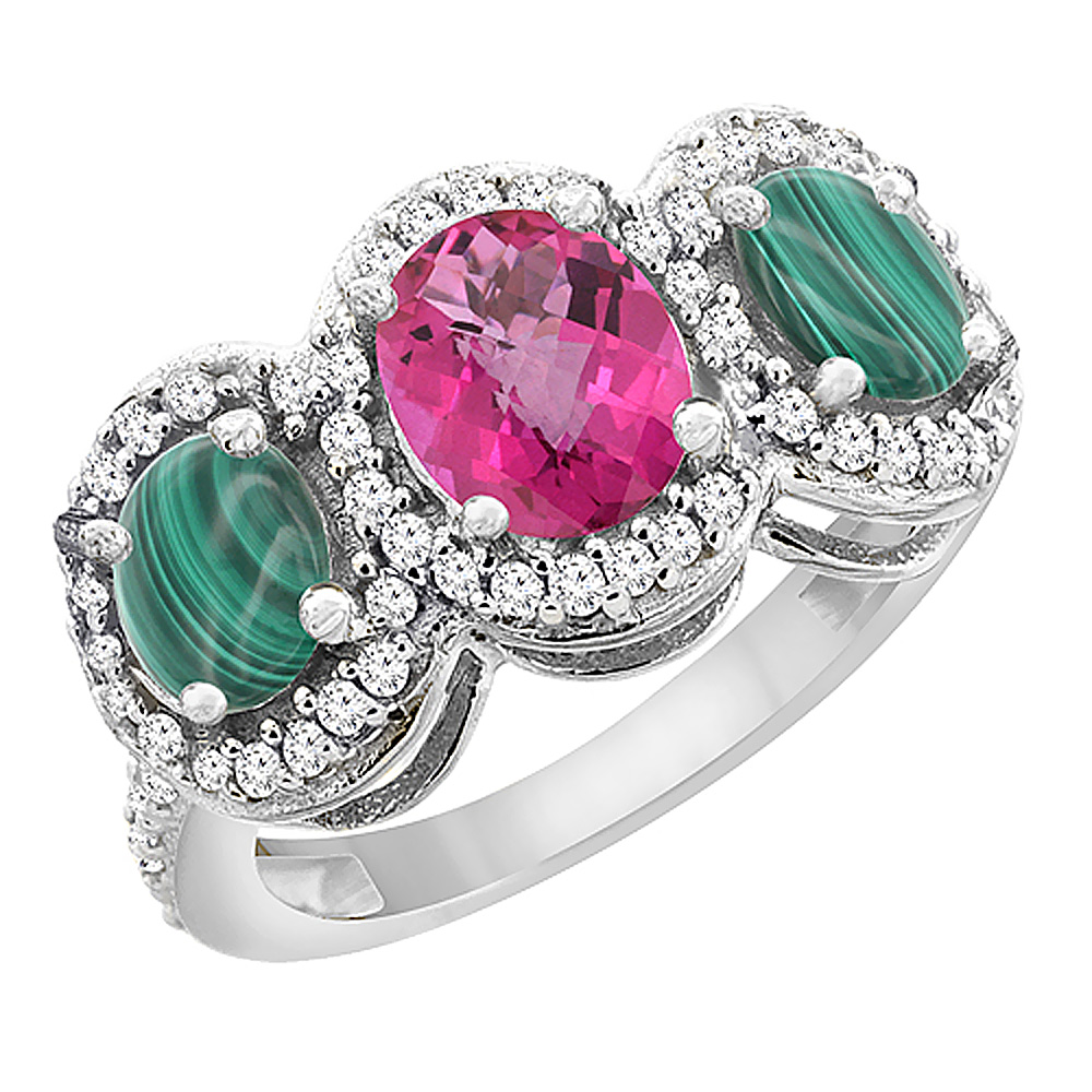 14K White Gold Natural Pink Sapphire & Malachite 3-Stone Ring Oval Diamond Accent, sizes 5 - 10