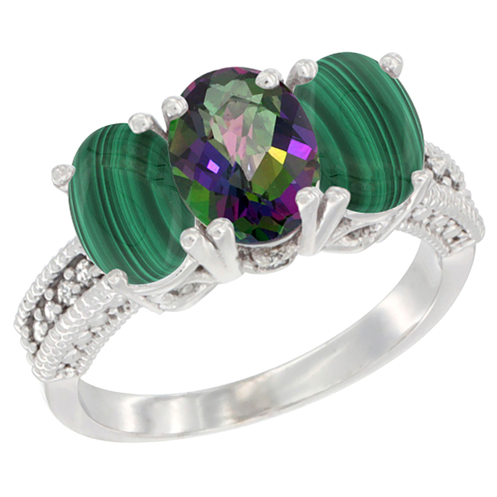 10K White Gold Diamond Natural Mystic Topaz & Malachite Ring 3-Stone 7x5 mm Oval, sizes 5 - 10