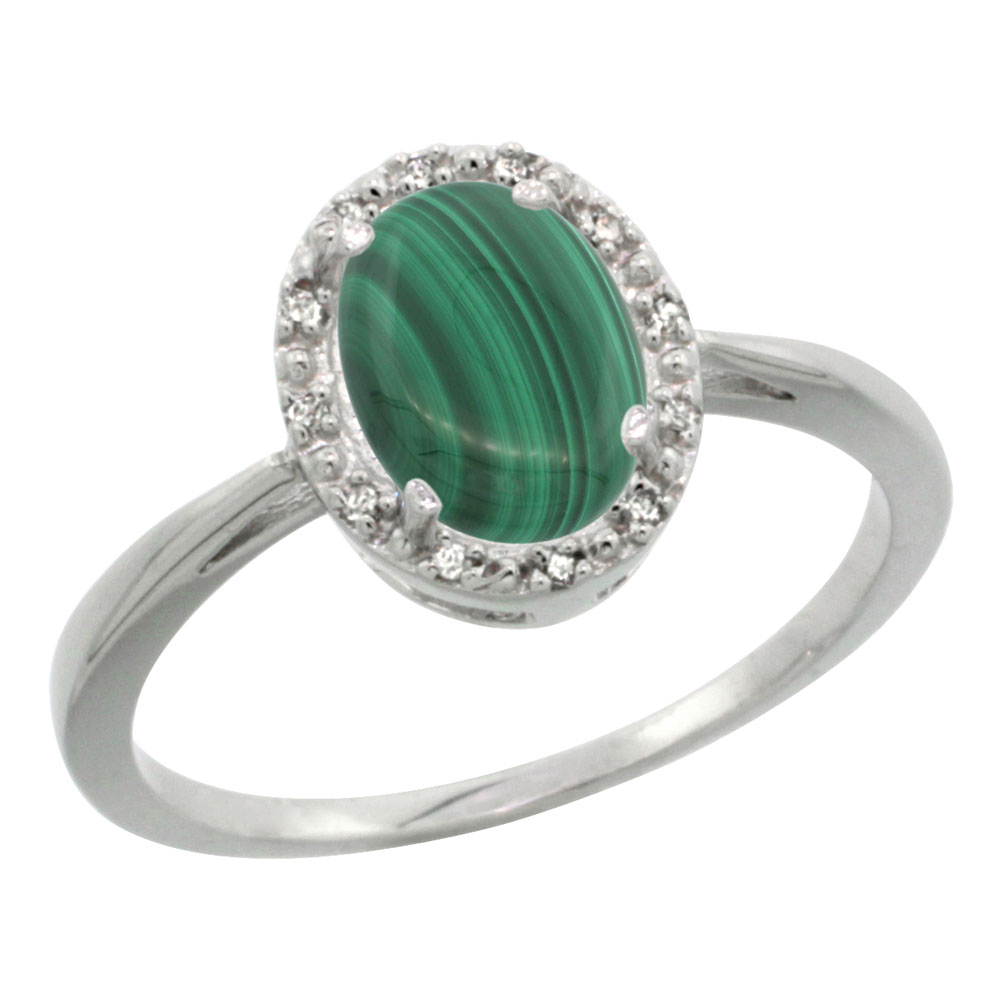 14K White Gold Natural Malachite Diamond Halo Ring Oval 8X6mm, sizes 5 10