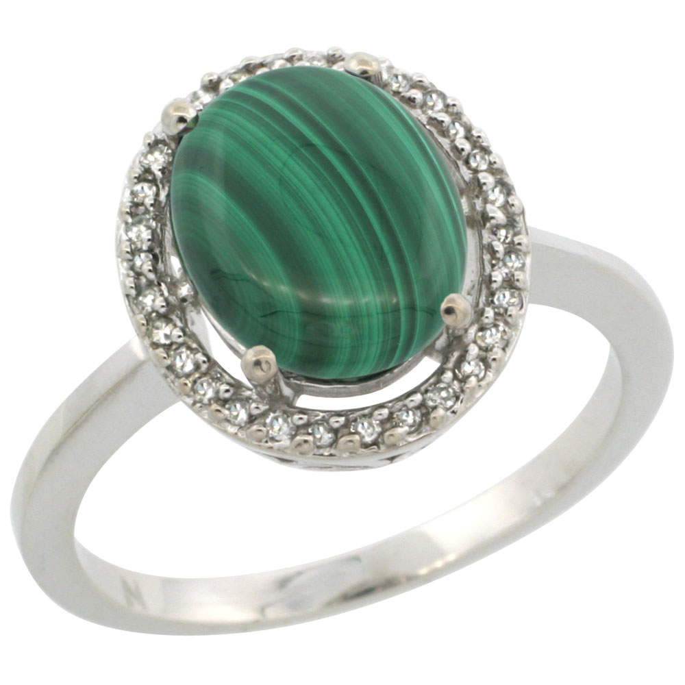 10K White Gold Diamond Halo Natural Malachite Engagement Ring Oval 10x8 mm, sizes 5 10