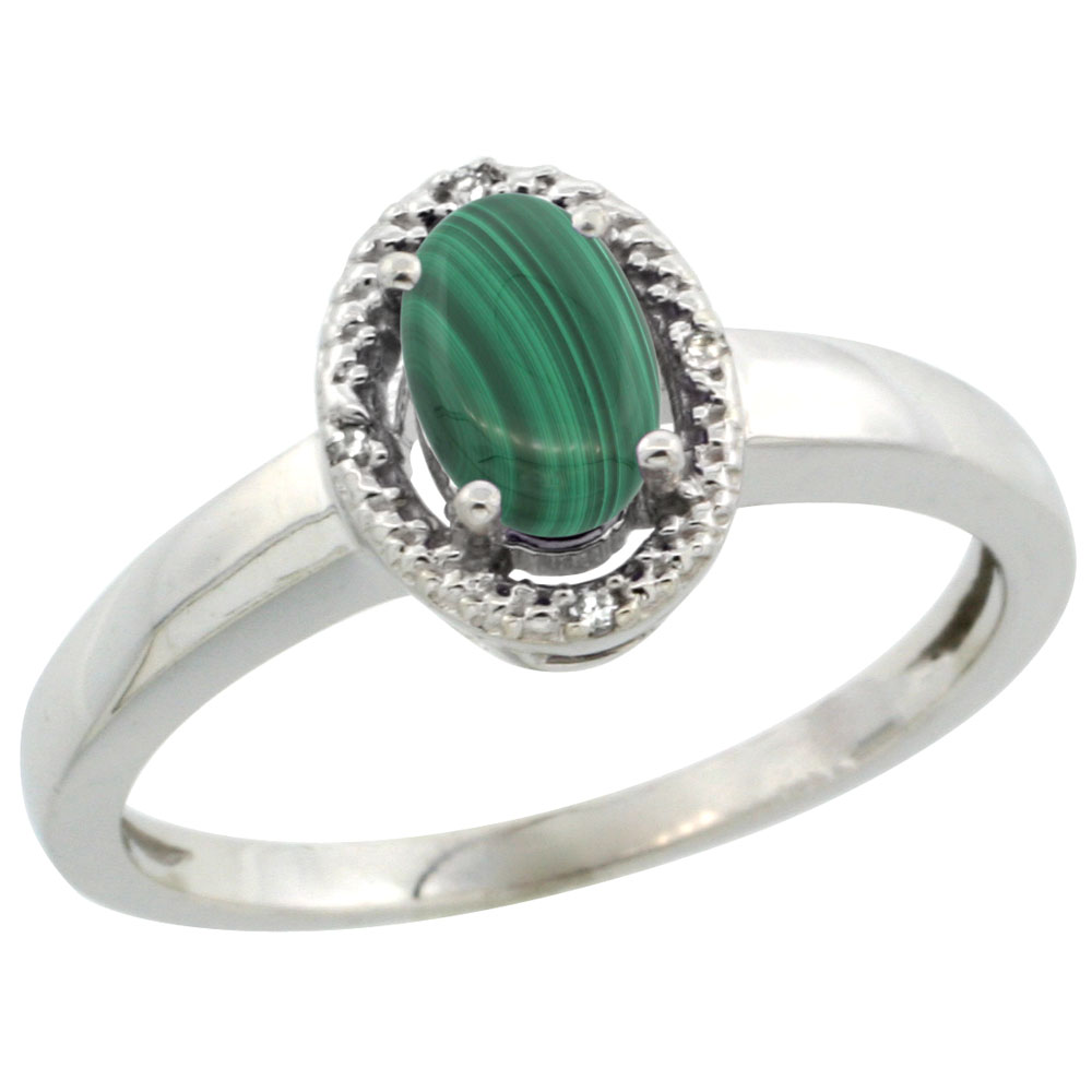 10K White Gold Diamond Halo Natural Malachite Engagement Ring Oval 6X4 mm, sizes 5-10