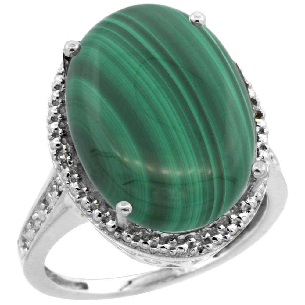 10K White Gold Diamond Natural Malachite Ring Oval 18x13mm, sizes 5-10