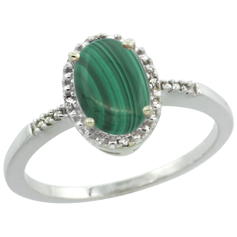10K White Gold Diamond Natural Malachite Ring Oval 8x6mm, sizes 5-10