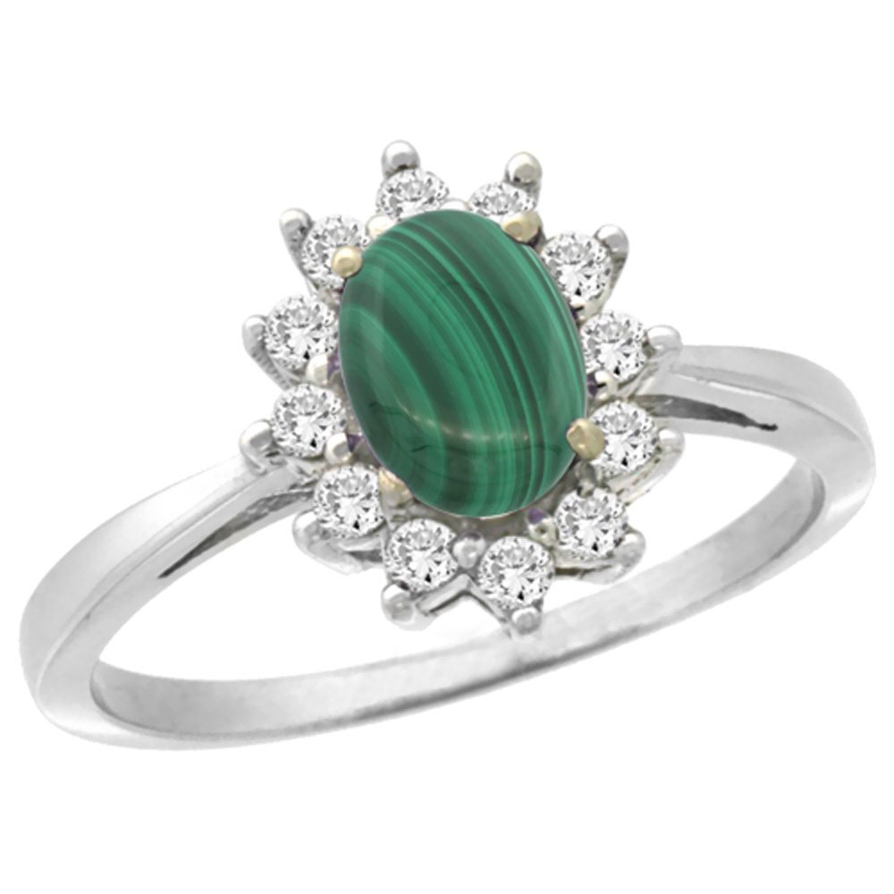 10k White Gold Natural Malachite Engagement Ring Oval 7x5mm Diamond Halo, sizes 5-10
