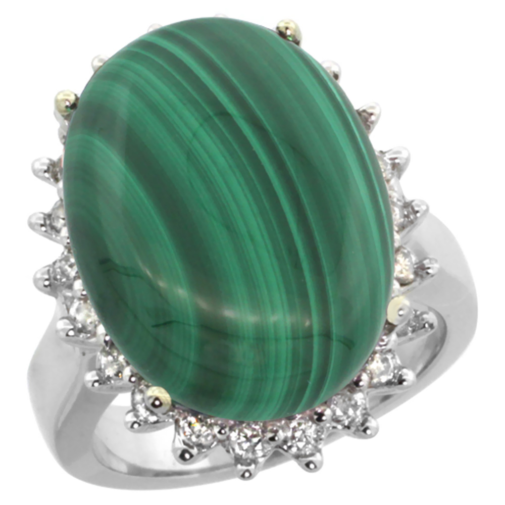 10k White Gold Diamond Halo Natural Malachite Ring Large Oval 18x13mm, sizes 5-10