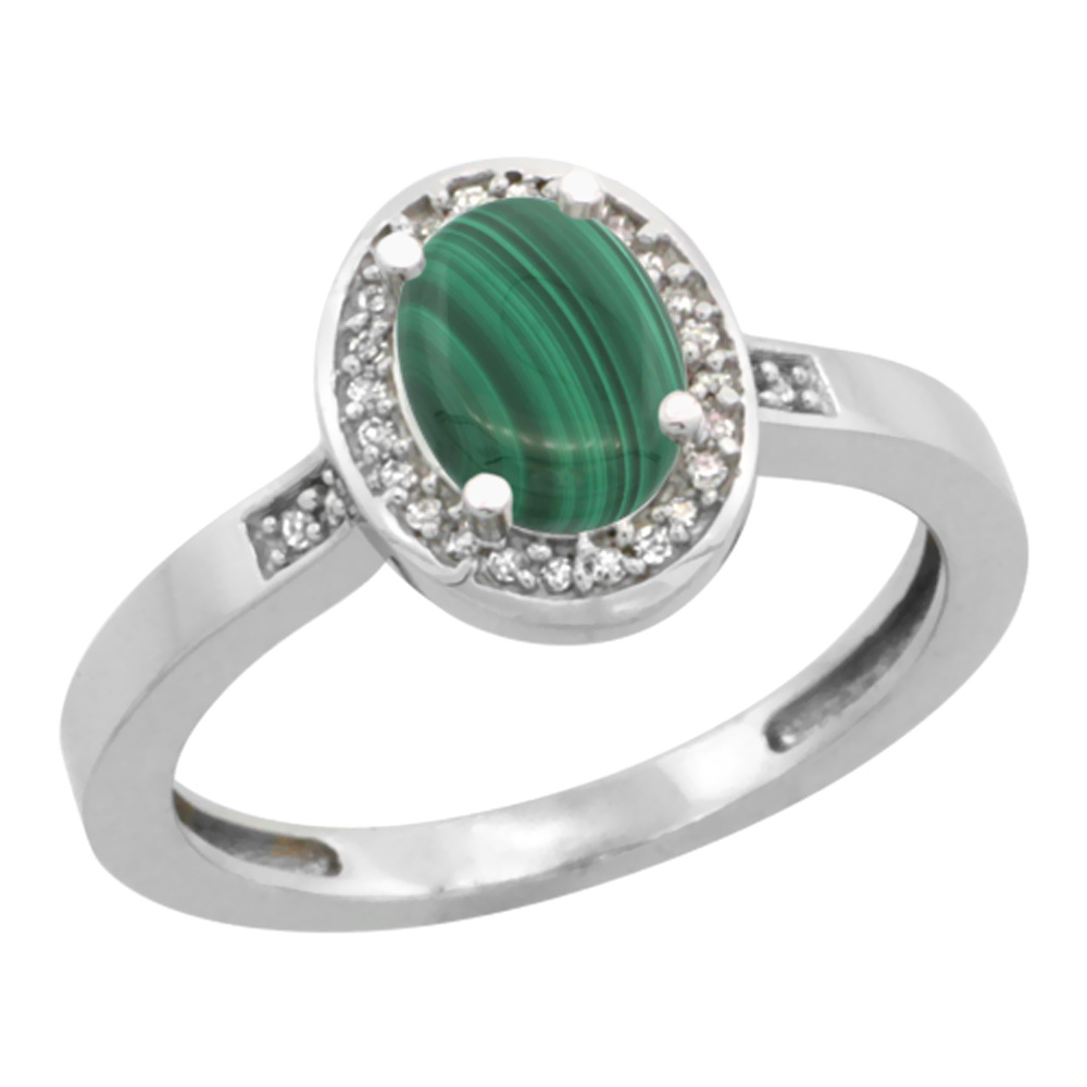 10K White Gold Diamond Natural Malachite Engagement Ring Oval 7x5mm, sizes 5-10