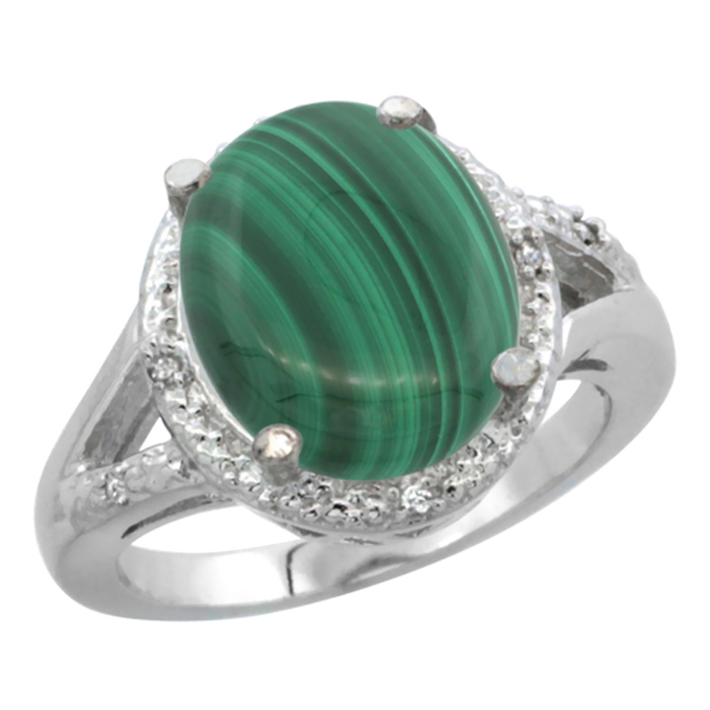 14K White Gold Natural Malachite Ring Oval 12x10mm Diamond Accent, sizes 5-10