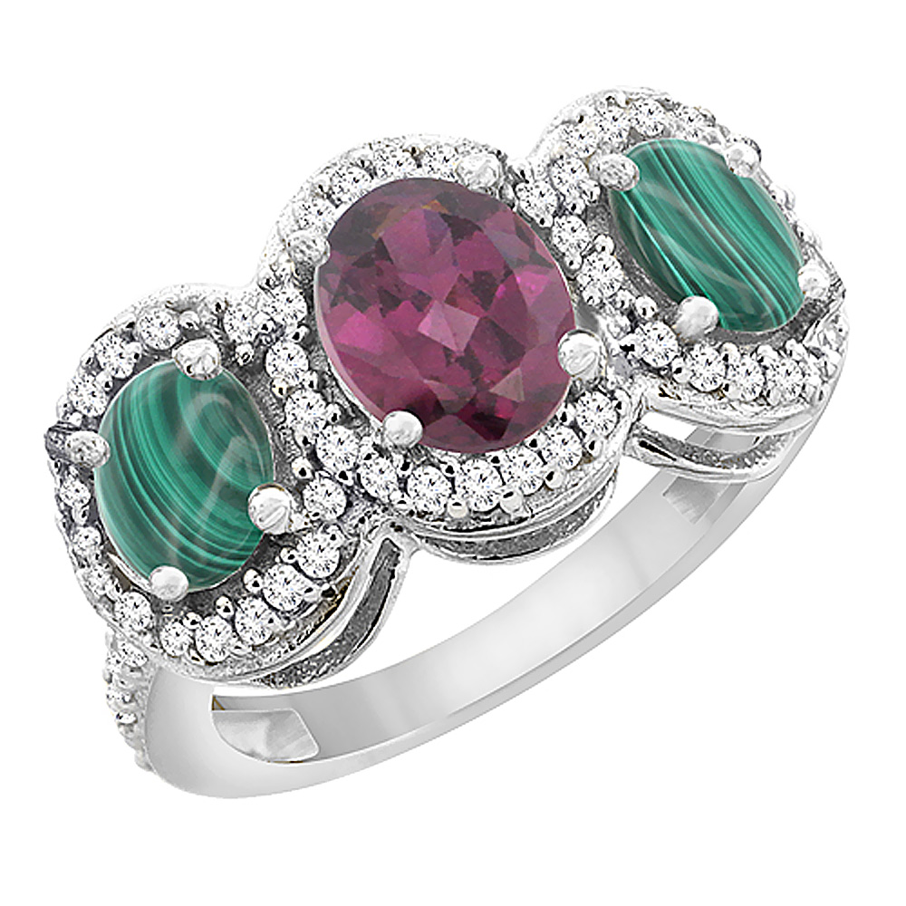 14K White Gold Natural Rhodolite & Malachite 3-Stone Ring Oval Diamond Accent, sizes 5 - 10