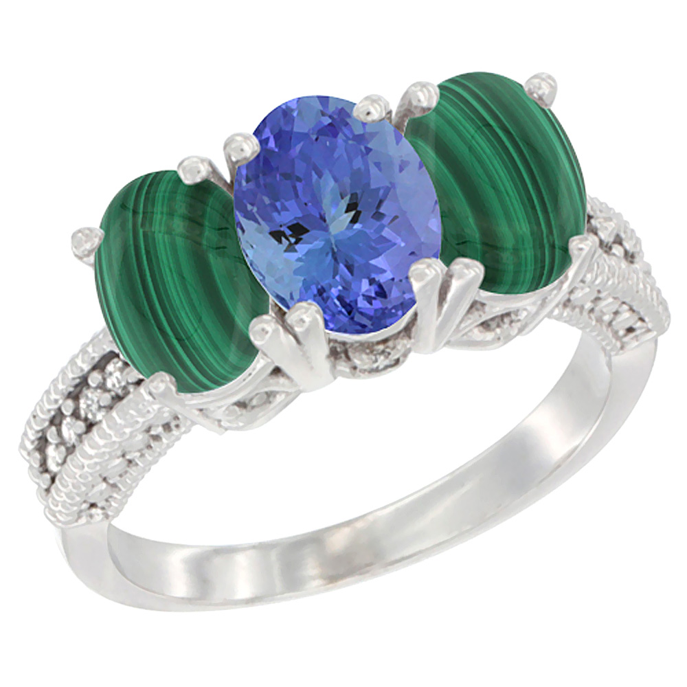 14K White Gold Natural Tanzanite Ring with Malachite 3-Stone 7x5 mm Oval Diamond Accent, sizes 5 - 10