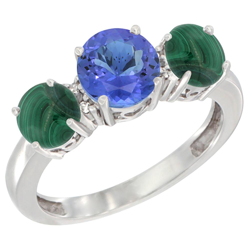 14K White Gold Round 3-Stone Natural Tanzanite Ring & Malachite Sides Diamond Accent, sizes 5 - 10