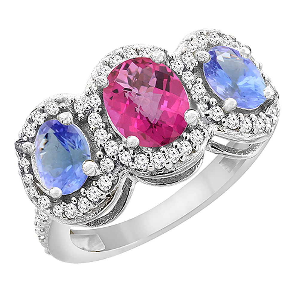 14K White Gold Natural Pink Sapphire & Tanzanite 3-Stone Ring Oval Diamond Accent, sizes 5 - 10