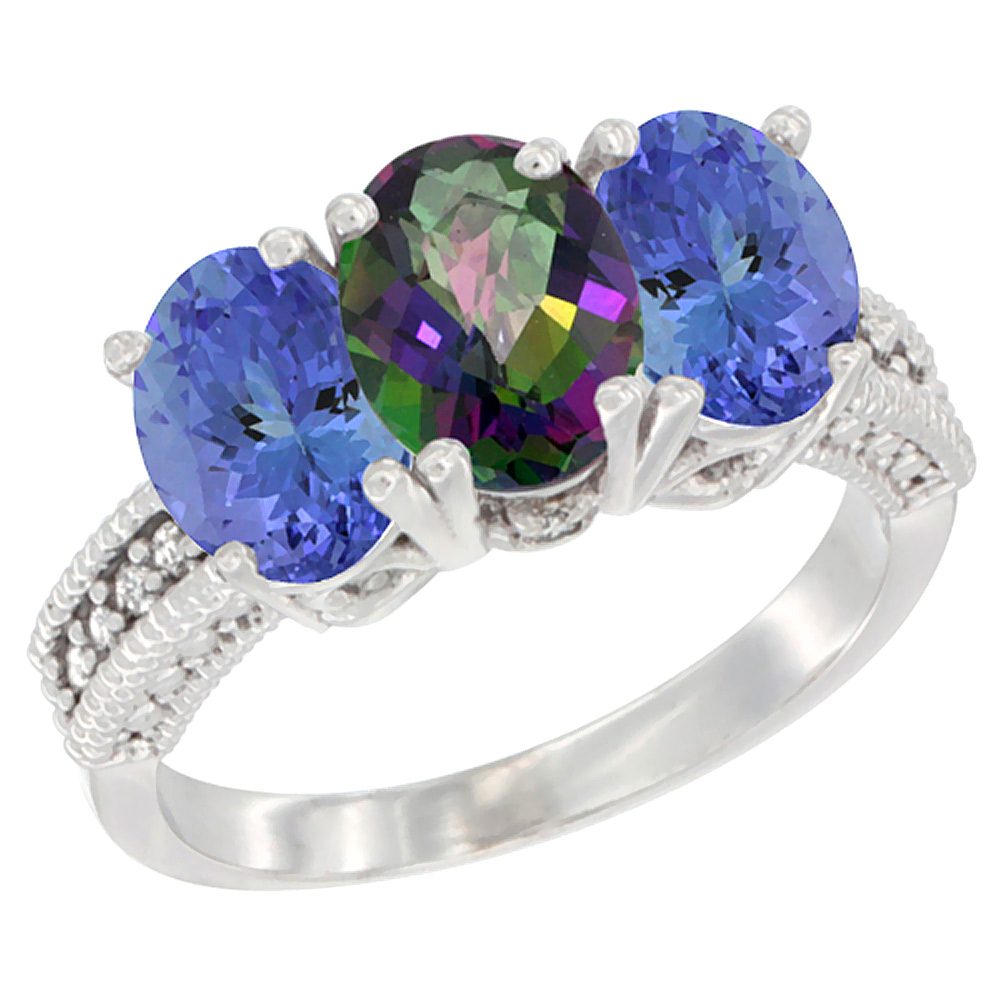 10K White Gold Diamond Natural Mystic Topaz & Tanzanite Ring 3-Stone 7x5 mm Oval, sizes 5 - 10