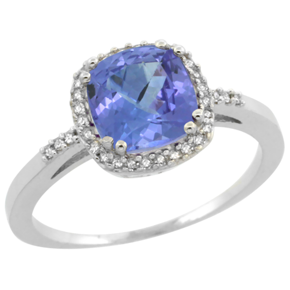 14K White Gold Diamond Natural Tanzanite Ring Cushion-cut 7x7mm, sizes 5-10