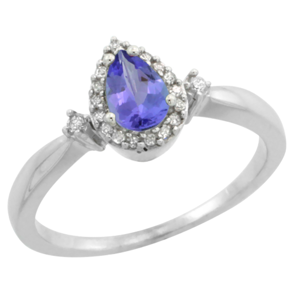 14K White Gold Diamond Natural Tanzanite Ring Pear 6x4mm, sizes 5-10