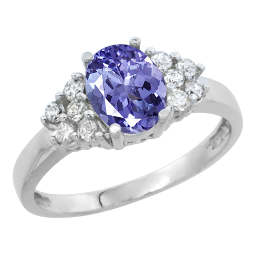 14K White Gold Natural Tanzanite Ring Oval 8x6mm Diamond Accent, sizes 5-10