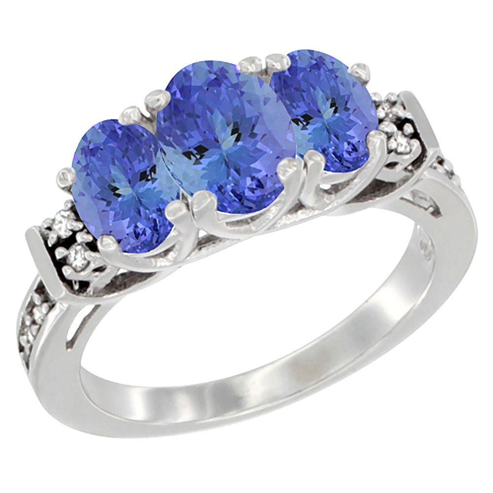 14K White Gold Natural Tanzanite Ring 3-Stone Oval Diamond Accent, sizes 5-10