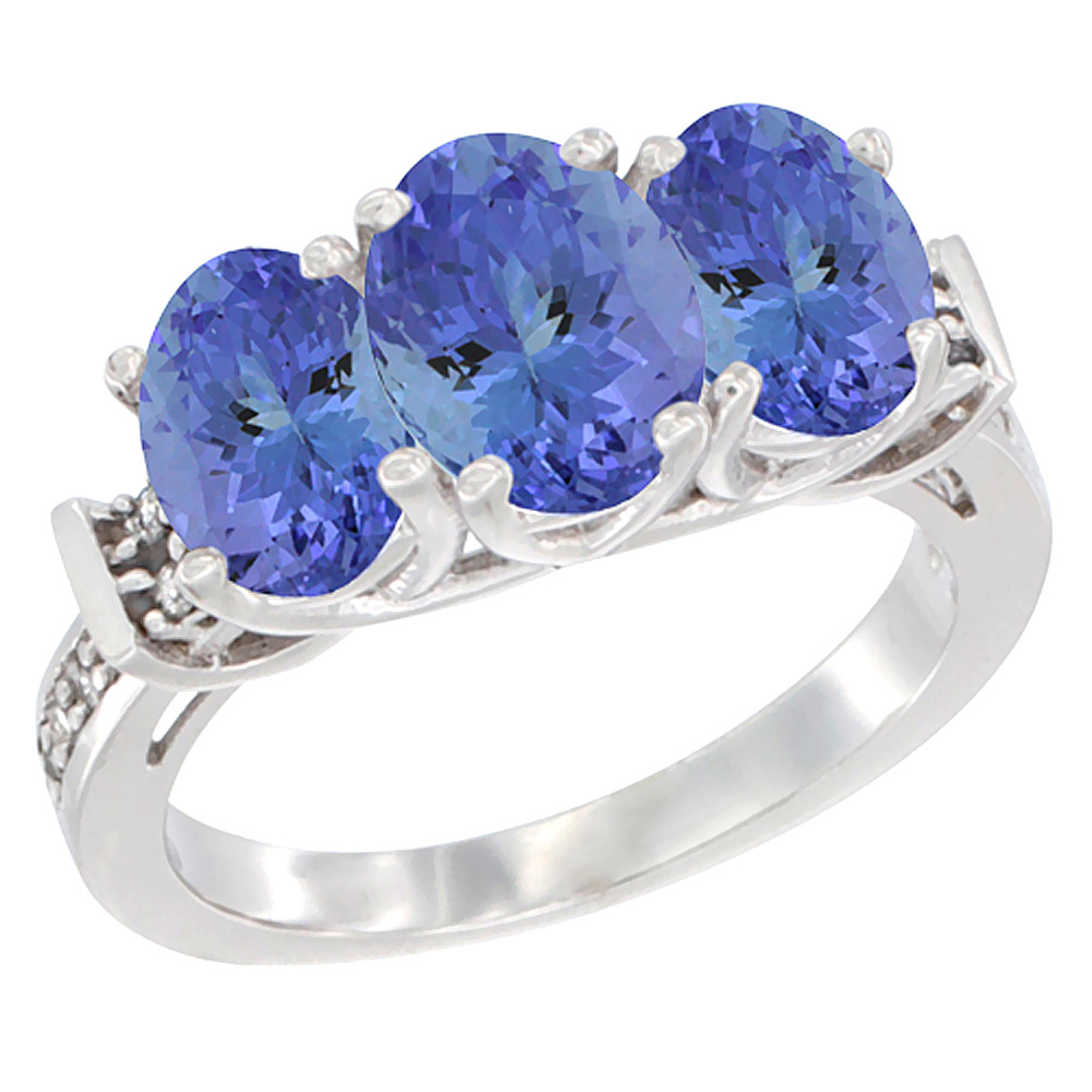 14K White Gold Natural Tanzanite Ring 3-Stone Oval Diamond Accent, sizes 5 - 10