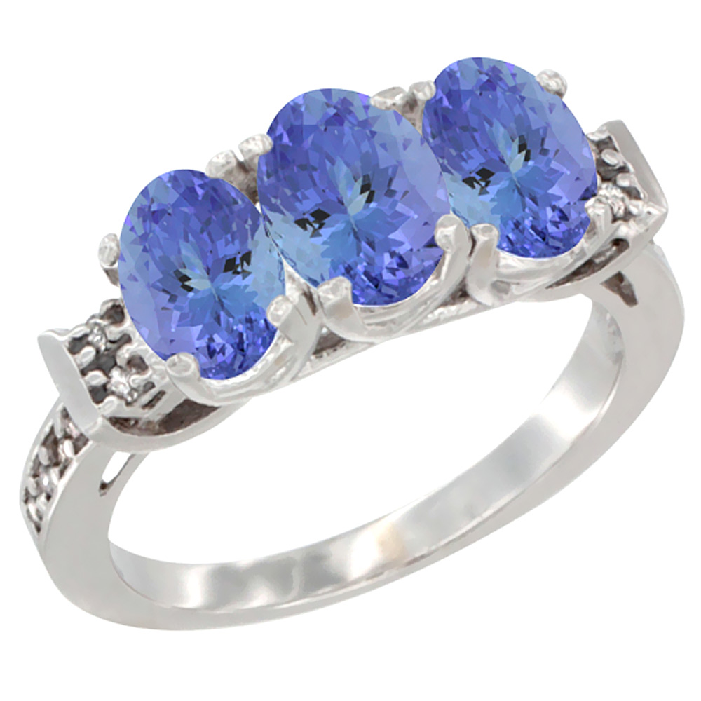 14K White Gold Natural Tanzanite Ring 3-Stone 7x5 mm Oval Diamond Accent, sizes 5 - 10
