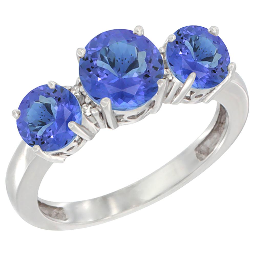 14K White Gold Round 3-Stone Natural Tanzanite Ring Diamond Accent, sizes 5 - 10