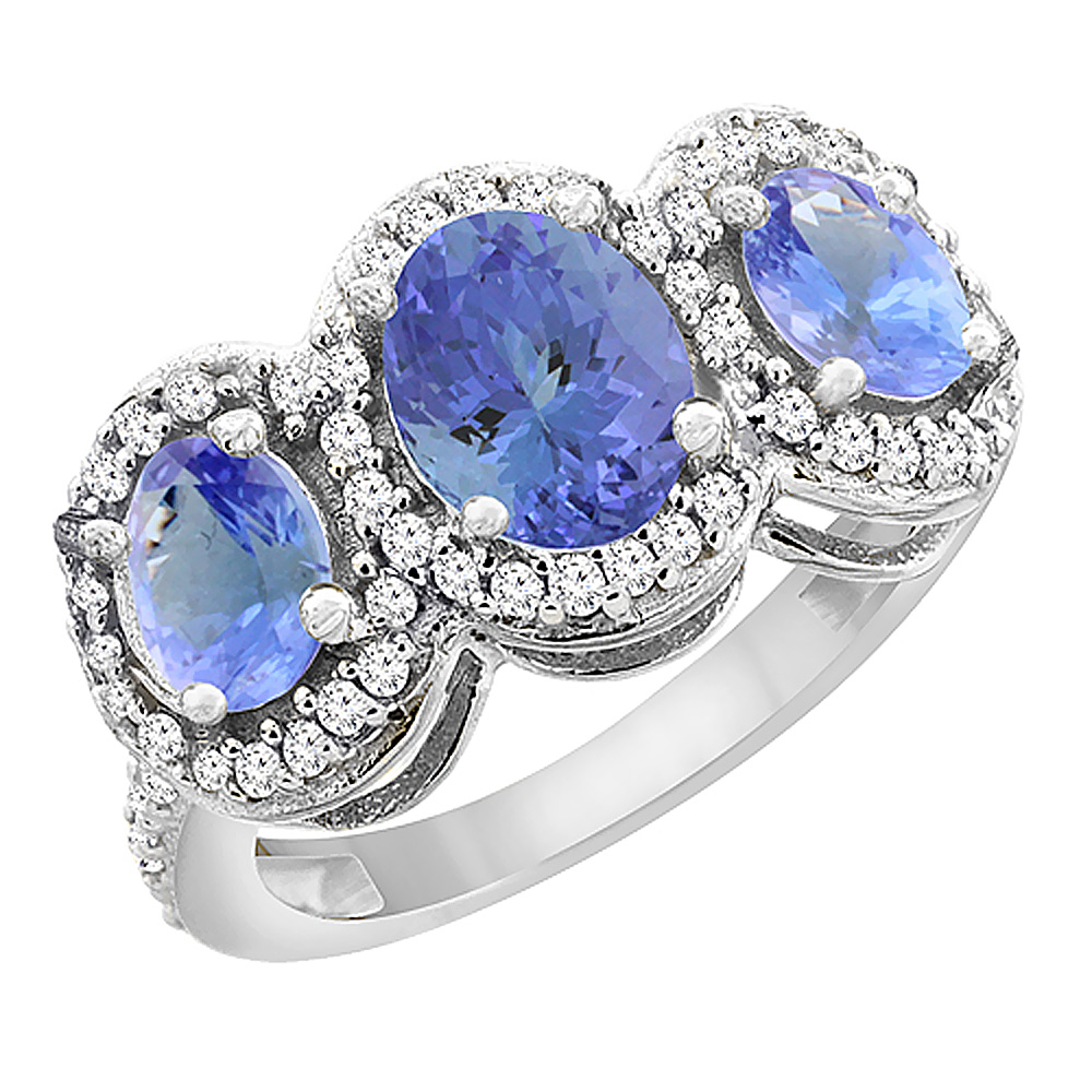 14K White Gold Natural Tanzanite 3-Stone Ring Oval Diamond Accent, sizes 5 - 10