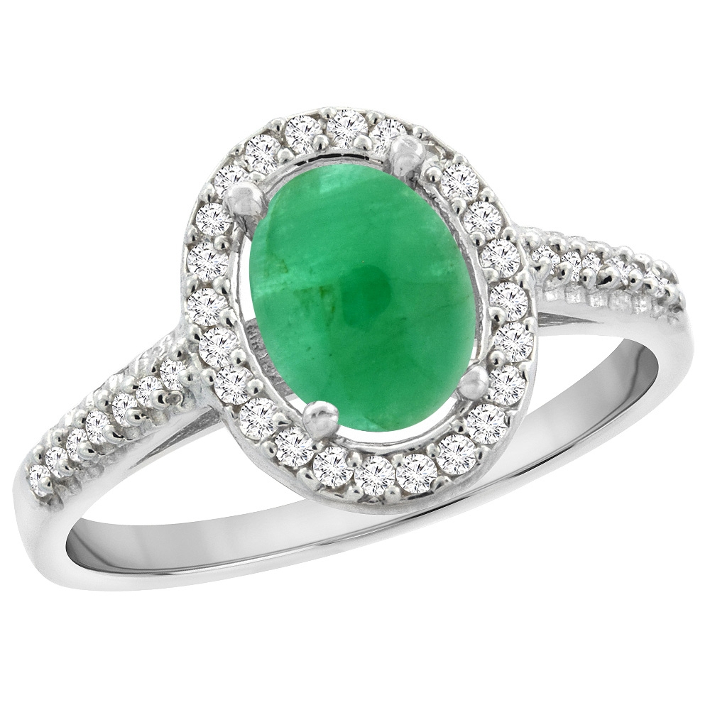 14K White Gold Natural Cabochon Emerald Engagement Ring Oval 7x5 mm Diamond Halo, sizes 5 - 10