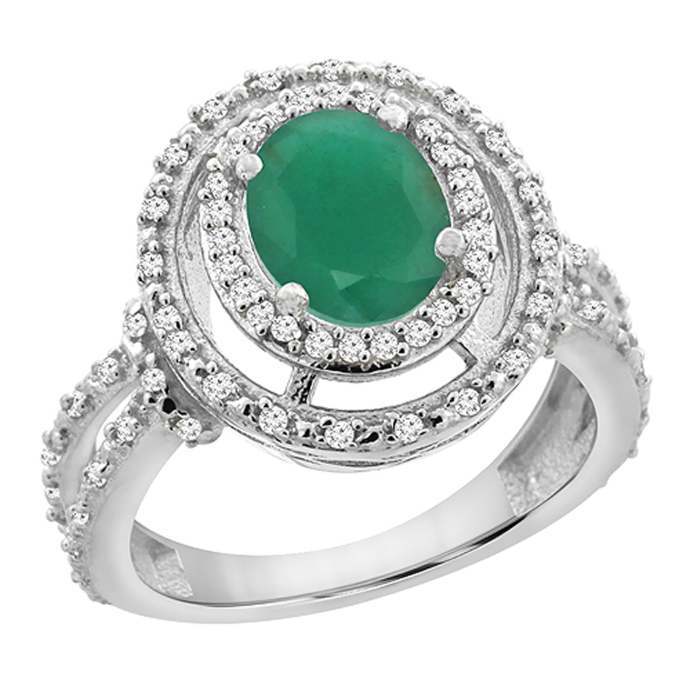 10K White Gold Natural Cabochon Emerald Ring Oval 8x6 mm Double Halo Diamond, sizes 5 - 10