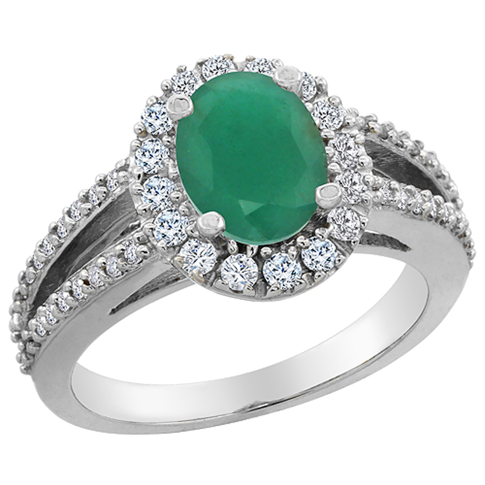14K White Gold Natural Cabochon Emerald Halo Ring Oval 8x6 mm with Diamond Accents, sizes 5 - 10