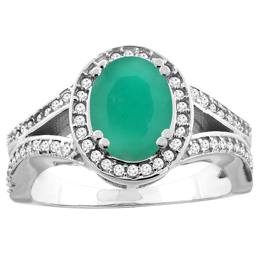 14k Gold Diamond Halo Genuine Cabochon Emerald Ring Split Shank Oval 8x6mm, size 5-10