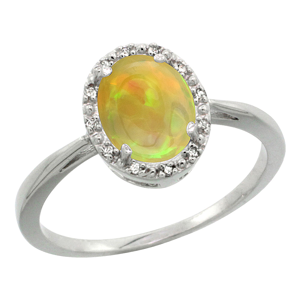 Sterling Silver Natural Ethiopian HQ Opal Diamond Halo Ring Oval 8x6 mm, sizes 5-10