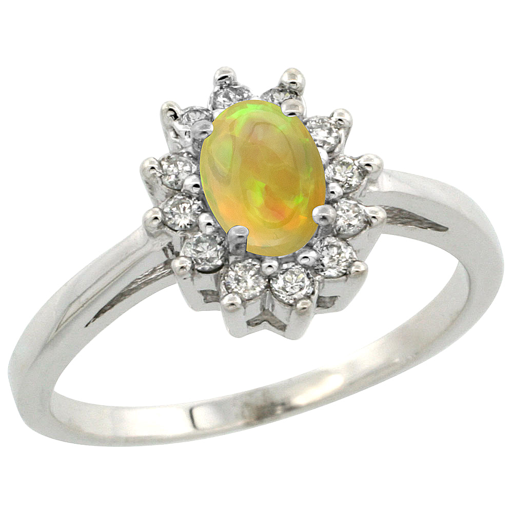 14K White Gold Natural Ethiopian Opal Flower Diamond Halo Ring Oval 6x4 mm, sizes 5 10