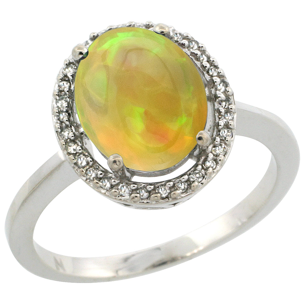 Sterling Silver Diamond Halo Natural Ethiopian Opal Engagement Ring Oval 10x8 mm, size 5-10