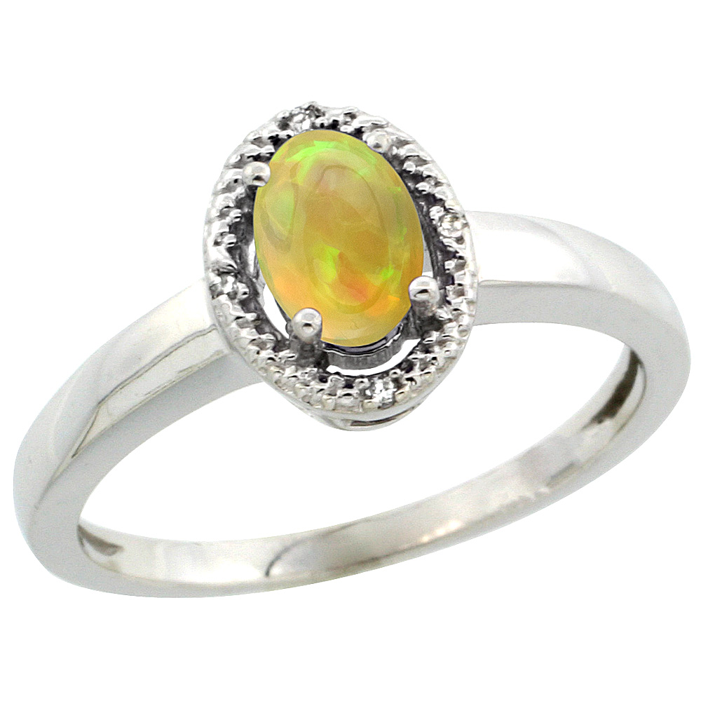 Sterling Silver Diamond Halo Natural Ethiopian HQ Opal Ring Oval 6x4 mm, sizes 5-10