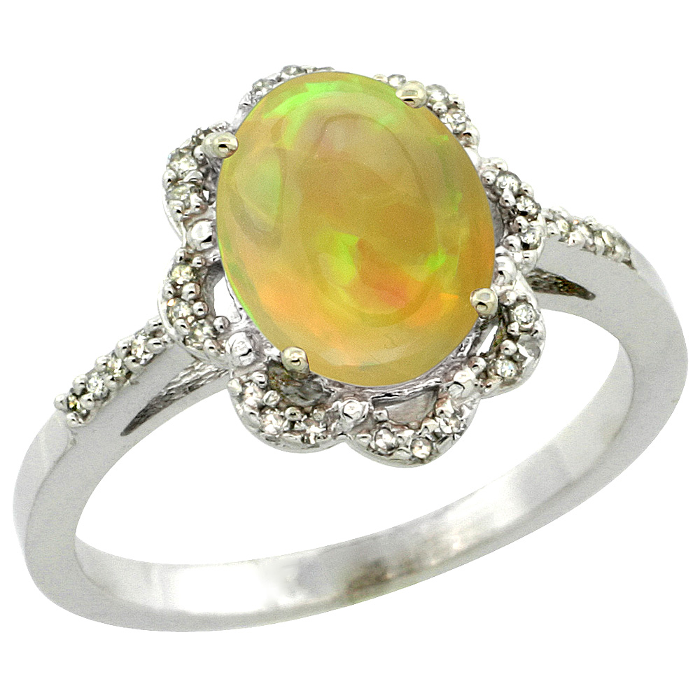 Sterling Silver Diamond Natural Ethiopian Opal Engagement Ring Oval 9x7 mm, size 5-10