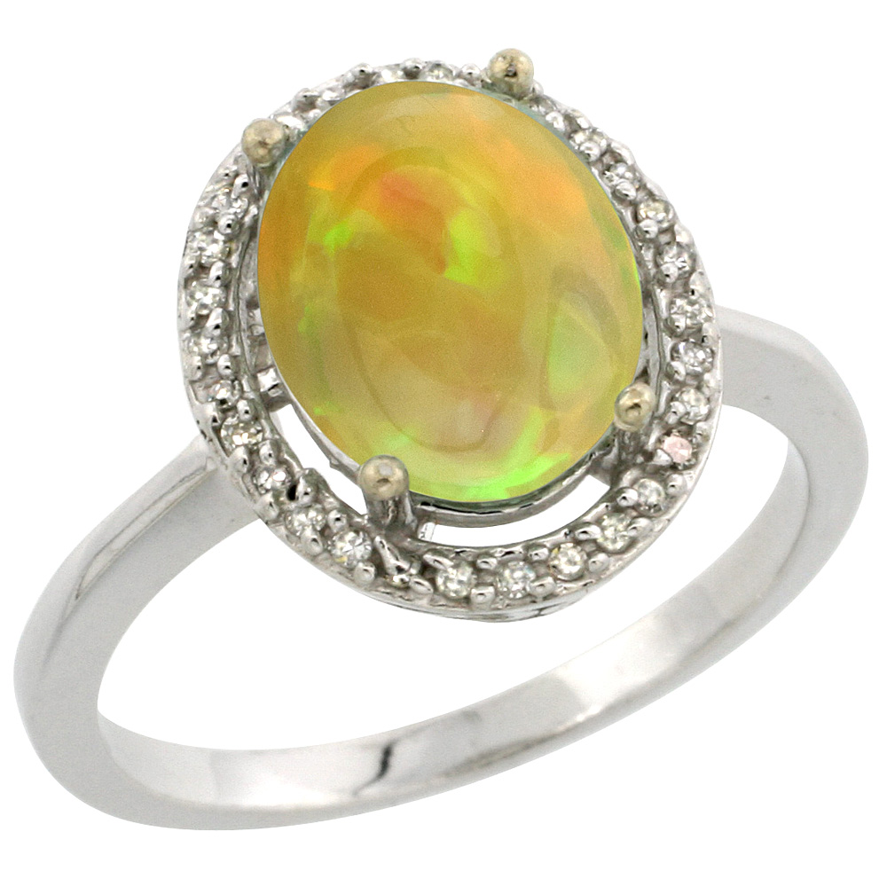Sterling Silver Diamond Natural Ethiopian HQ Opal Ring Oval 10x8 mm, sizes 5-10