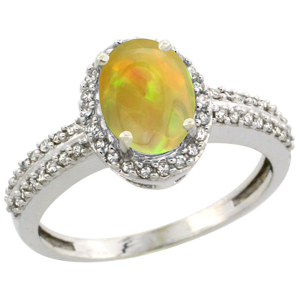 10k White Gold Diamond Halo Natural Ethiopian Opal Engagement Ring Oval 8x6mm, size 5-10