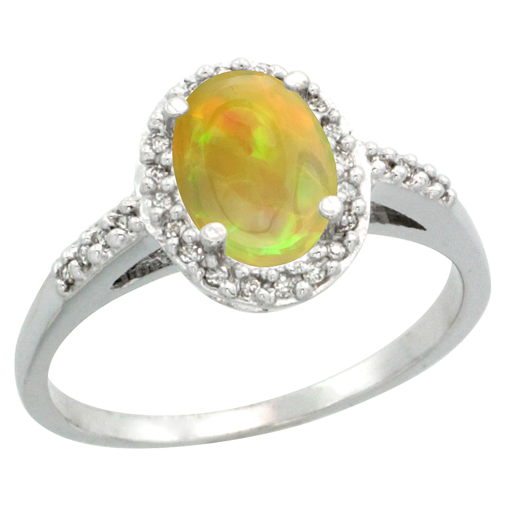 10K White Gold Diamond Natural Ethiopian Opal Engagement Ring Oval 8x6mm, size 5-10
