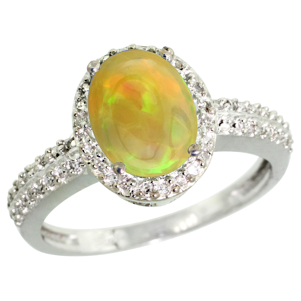 10K White Gold Diamond Natural Ethiopian Opal Engagement Ring Oval 9x7mm, sizes 5-10